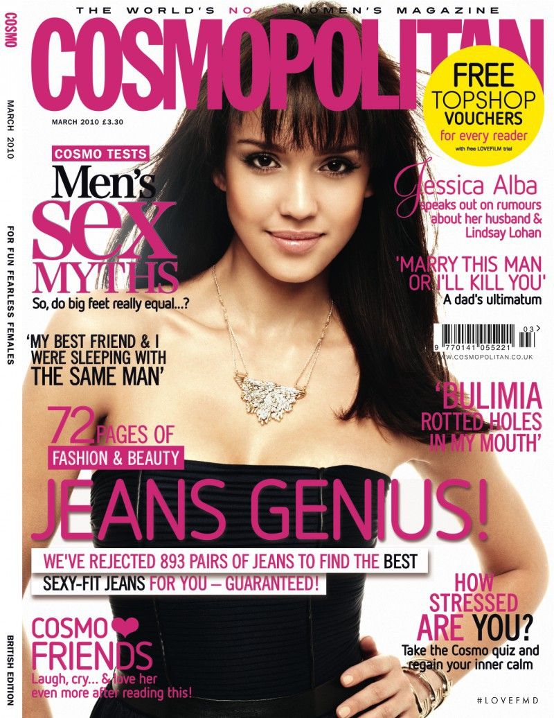 Jessica Alba featured on the Cosmopolitan UK cover from March 2010