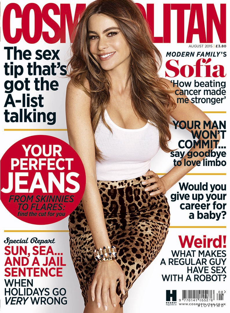 Sofia Vergara featured on the Cosmopolitan UK cover from August 2015