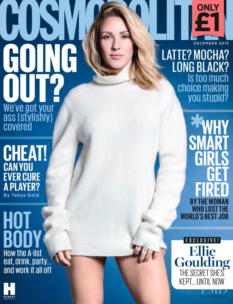 Ellie Goulding featured on the Cosmopolitan UK cover from December 2015