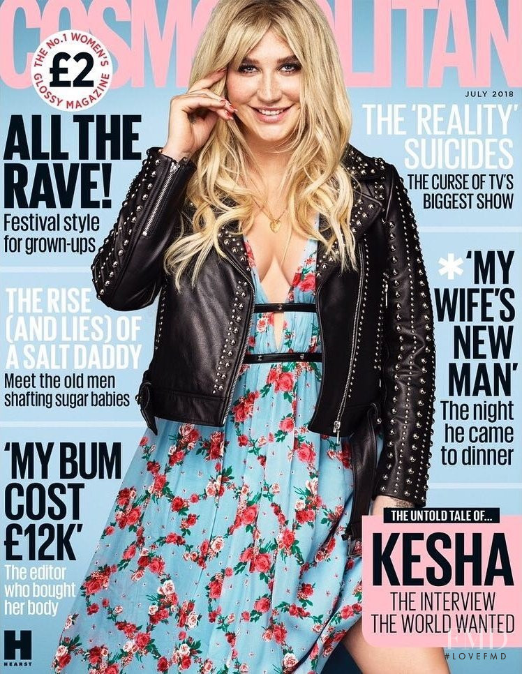 Kesha featured on the Cosmopolitan UK cover from July 2018
