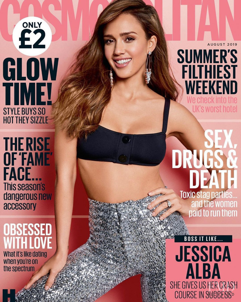 Jessica Alba featured on the Cosmopolitan UK cover from August 2019
