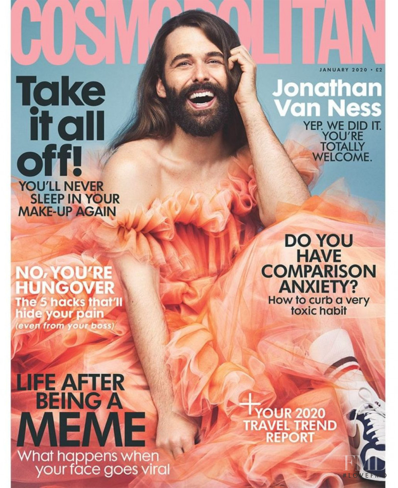Jonathan Van Ness featured on the Cosmopolitan UK cover from January 2020