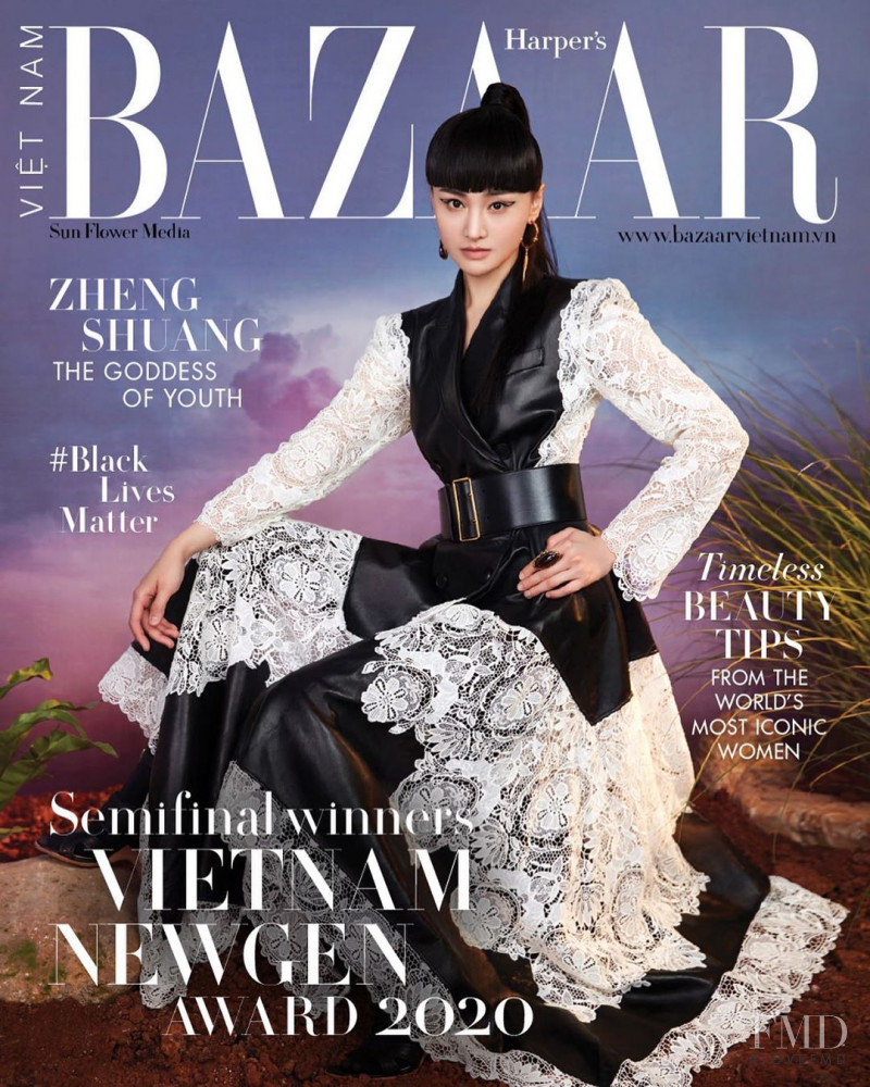 Zheng Shuang featured on the Harper\'s Bazaar Vietnam cover from July 2020