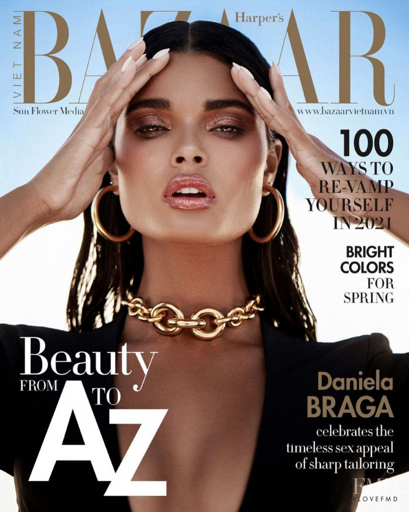 Daniela Braga featured on the Harper\'s Bazaar Vietnam cover from January 2021