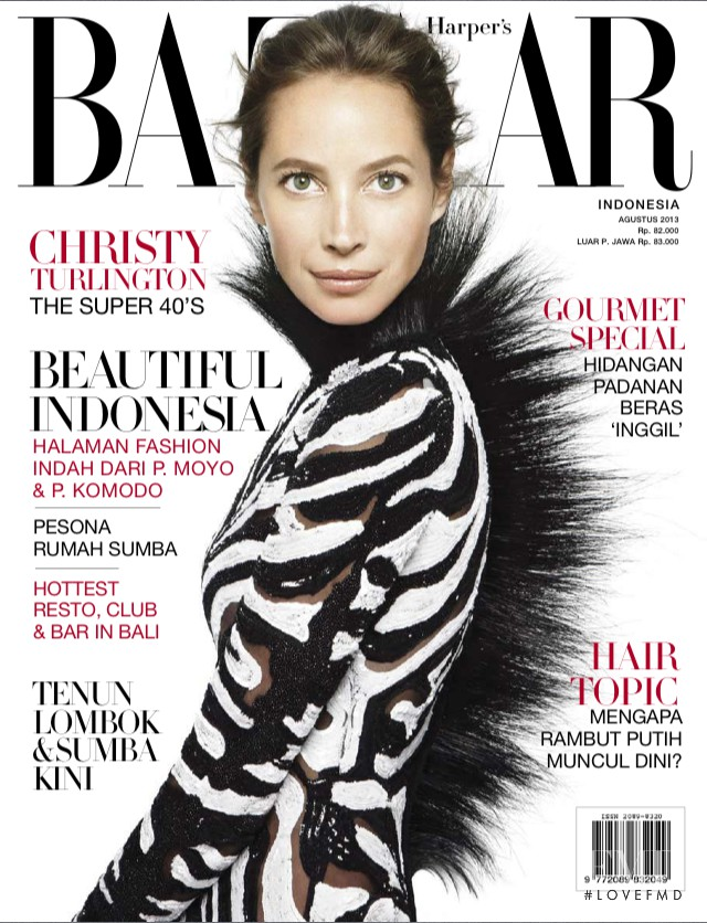 Christy Turlington featured on the Harper\'s Bazaar Indonesia cover from August 2013