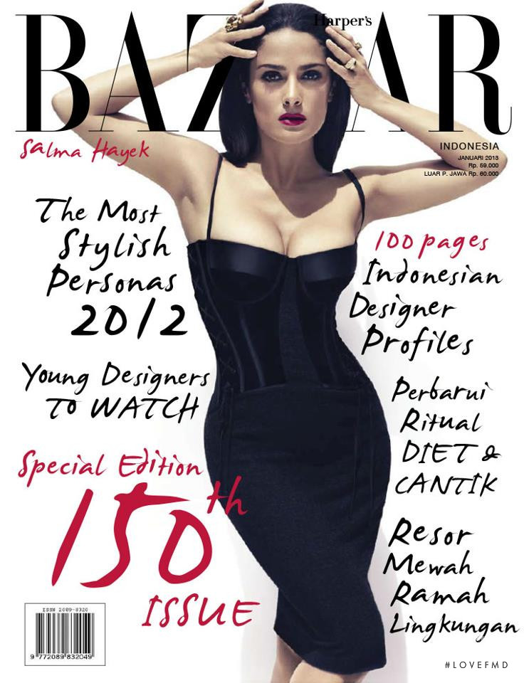 Salma Hayek featured on the Harper\'s Bazaar Indonesia cover from January 2013
