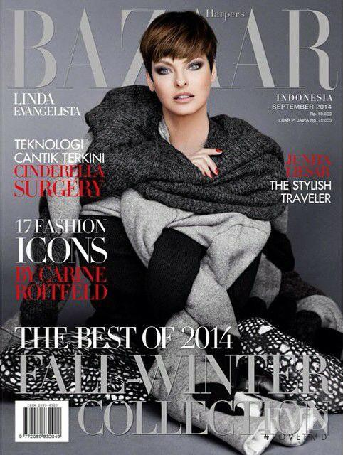 Linda Evangelista featured on the Harper\'s Bazaar Indonesia cover from September 2014