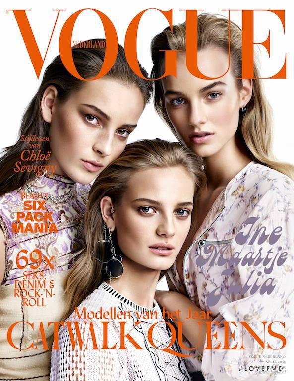 Maartje Verhoef, Julia Bergshoeff, Ine Neefs featured on the Vogue Netherlands cover from April 2015