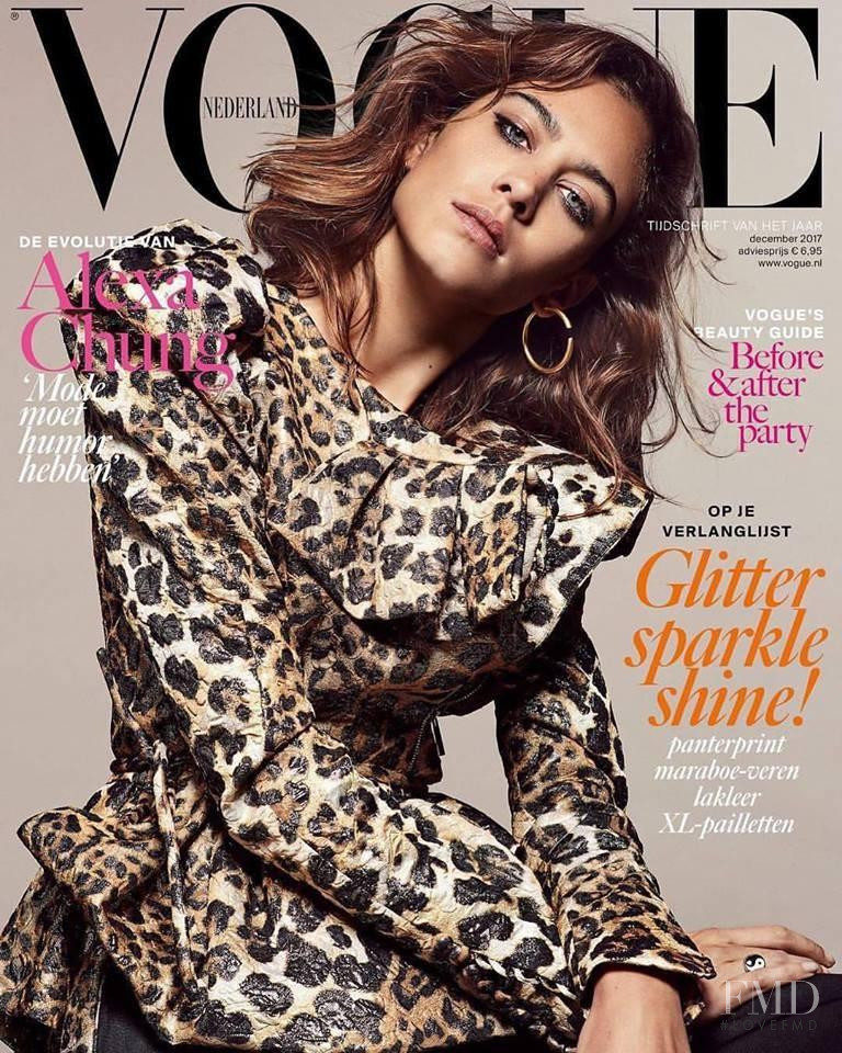 Alexa Chung featured on the Vogue Netherlands cover from December 2017