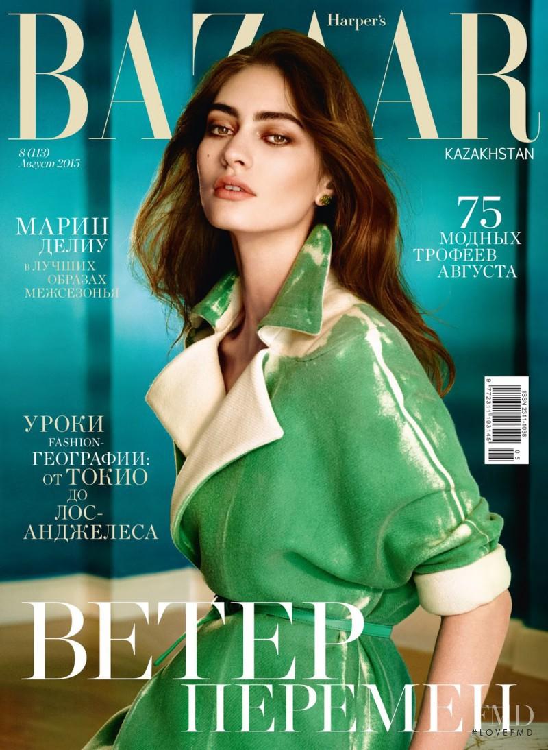 Marine Deleeuw featured on the Harper\'s Bazaar Kazakhstan cover from August 2015