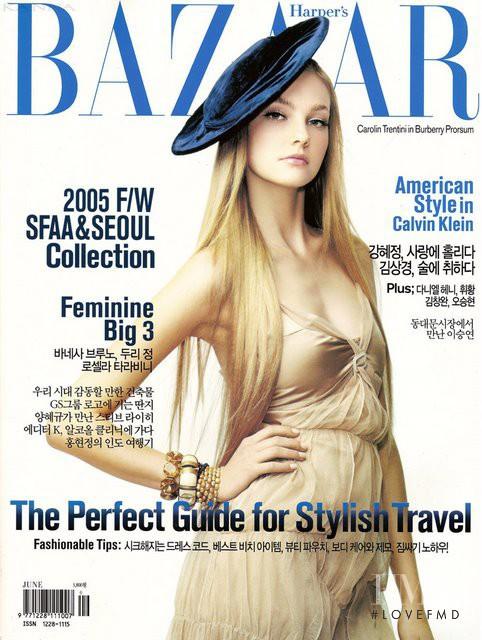 Caroline Trentini featured on the Harper\'s Bazaar Korea cover from June 2005