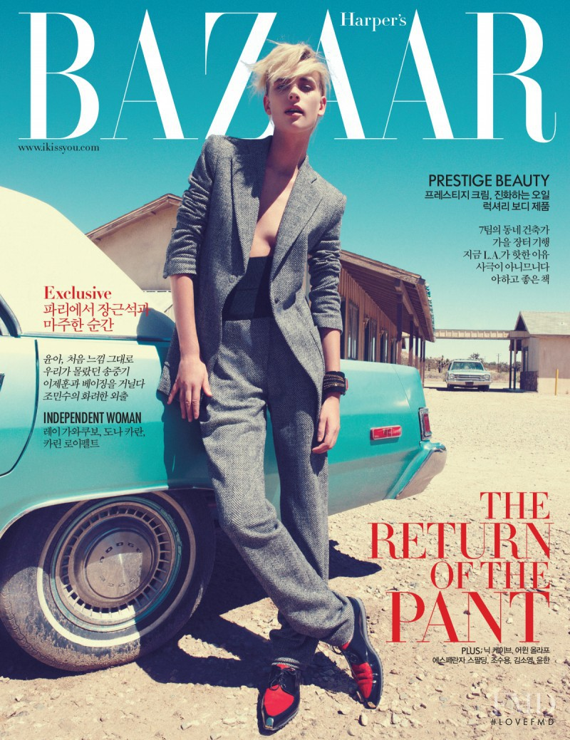 Milou van Groesen featured on the Harper\'s Bazaar Korea cover from October 2012
