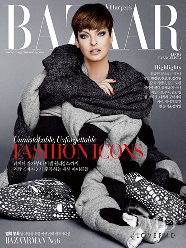 Linda Evangelista featured on the Harper\'s Bazaar Korea cover from September 2014