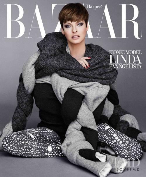 Linda Evangelista featured on the Harper\'s Bazaar Korea cover from September 2015