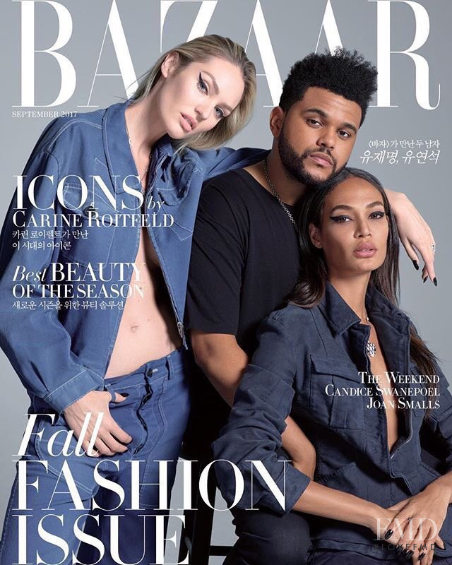 Candice Swanepoel, Joan Smalls featured on the Harper\'s Bazaar Korea cover from September 2017
