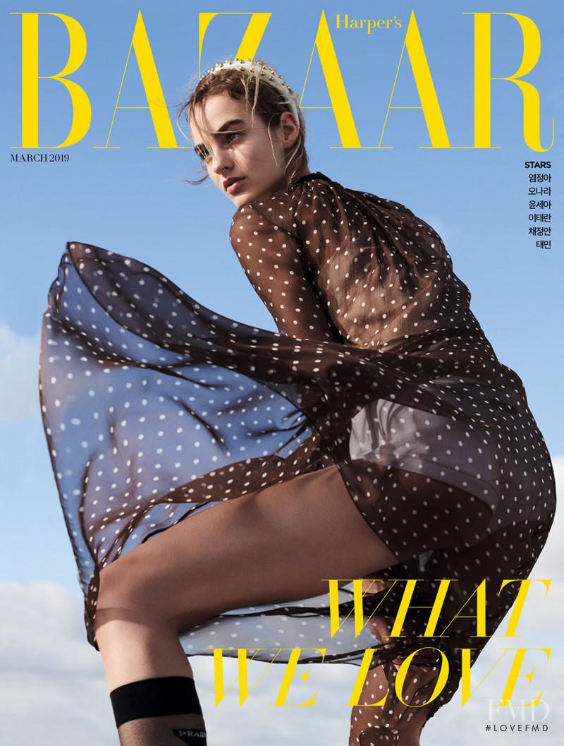 Maartje Verhoef featured on the Harper\'s Bazaar Korea cover from March 2019
