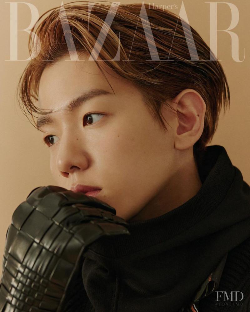 Baekhyun featured on the Harper\'s Bazaar Korea cover from October 2020