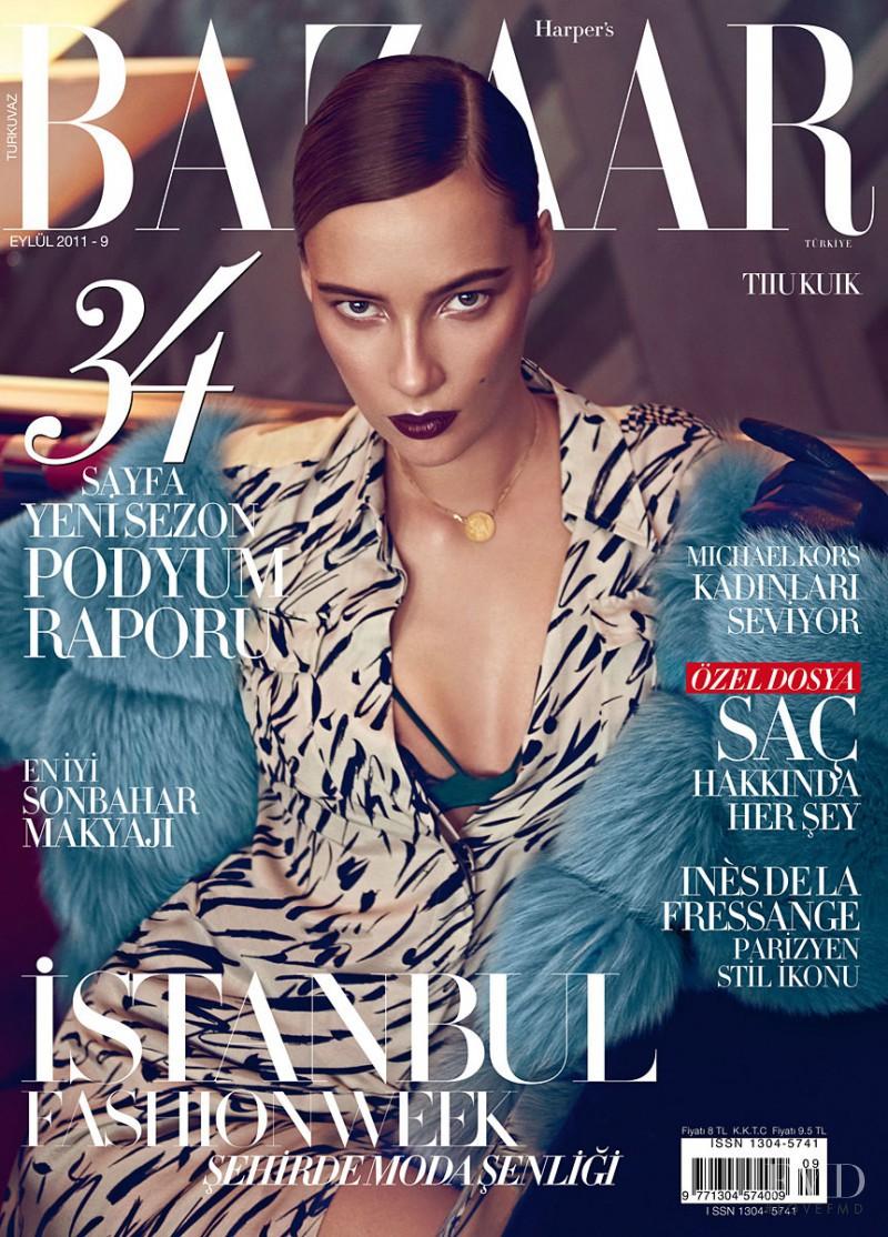 Tiiu Kuik featured on the Harper\'s Bazaar Turkey cover from September 2011
