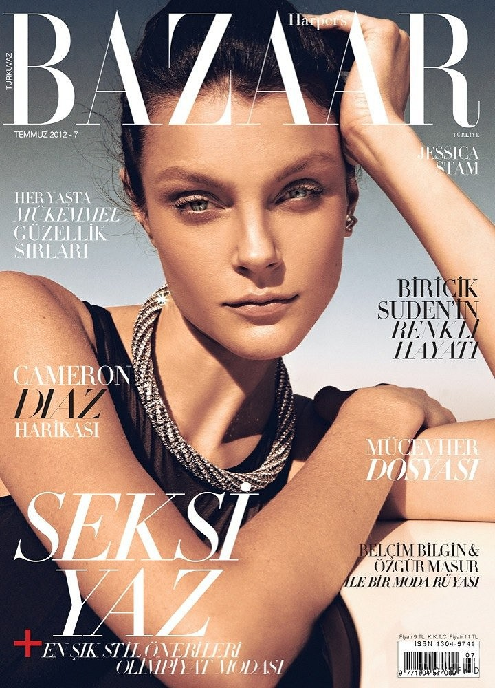 Jessica Stam featured on the Harper\'s Bazaar Turkey cover from July 2012