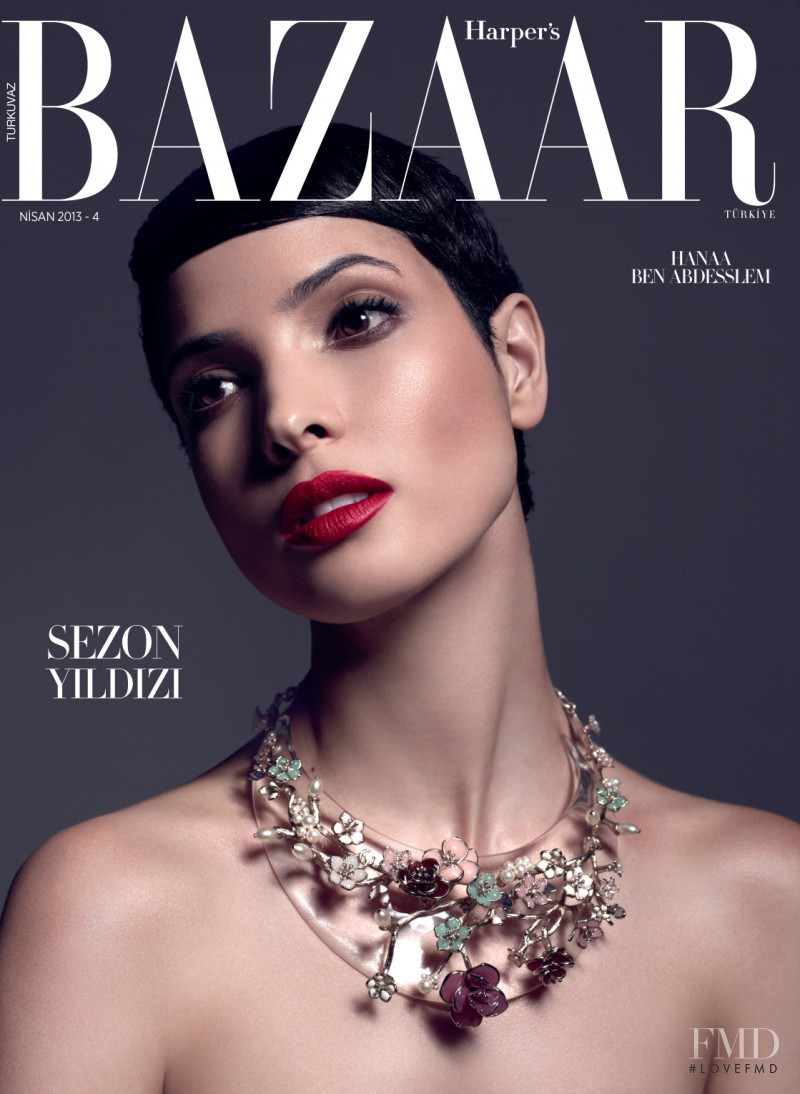 Hanaa Ben Abdesslem featured on the Harper\'s Bazaar Turkey cover from April 2013