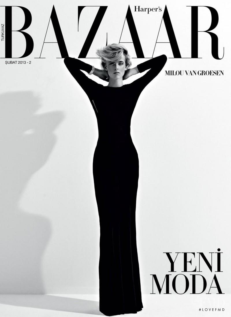 Milou van Groesen featured on the Harper\'s Bazaar Turkey cover from February 2013