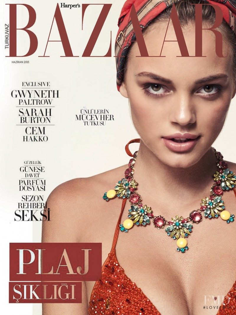 Kristina Peric featured on the Harper\'s Bazaar Turkey cover from June 2013