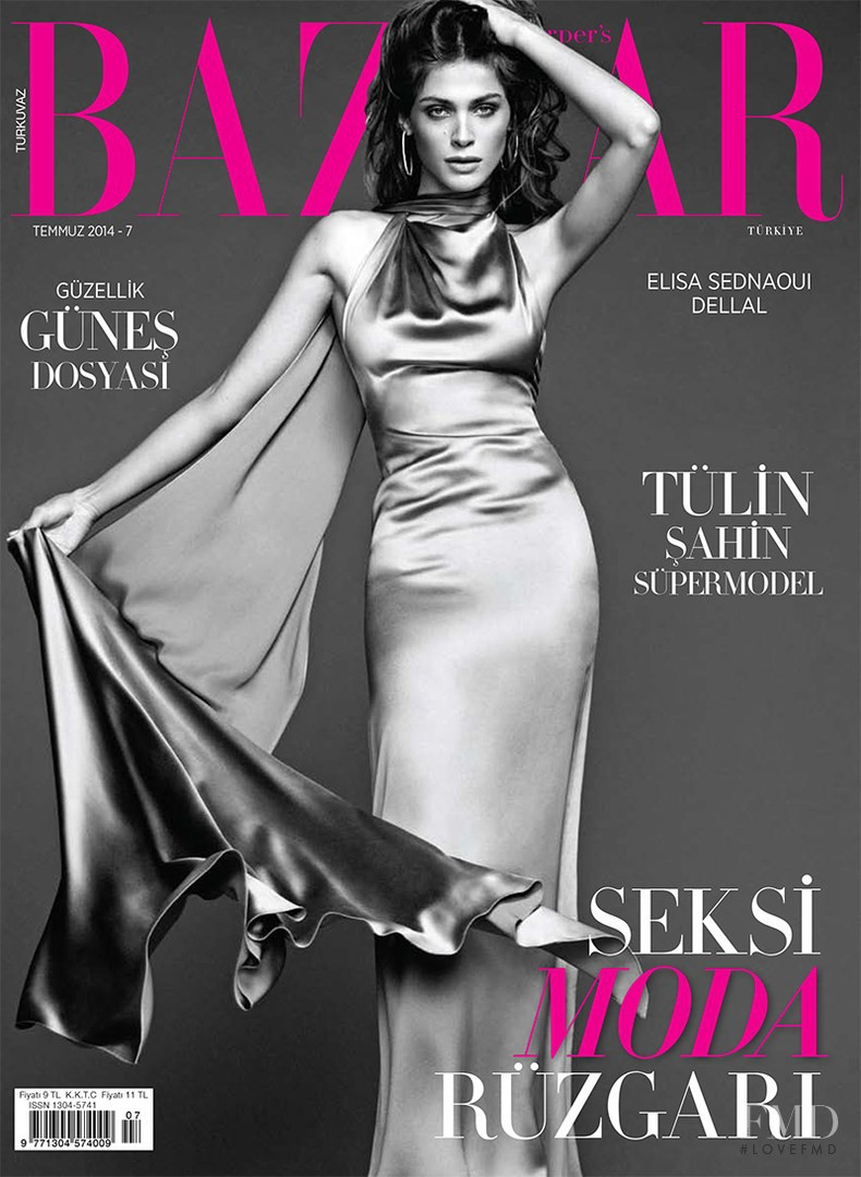 Elisa Sednaoui featured on the Harper\'s Bazaar Turkey cover from July 2014