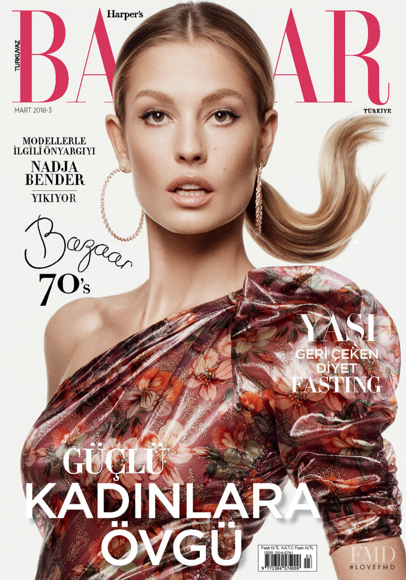 Nadja Bender featured on the Harper\'s Bazaar Turkey cover from March 2018