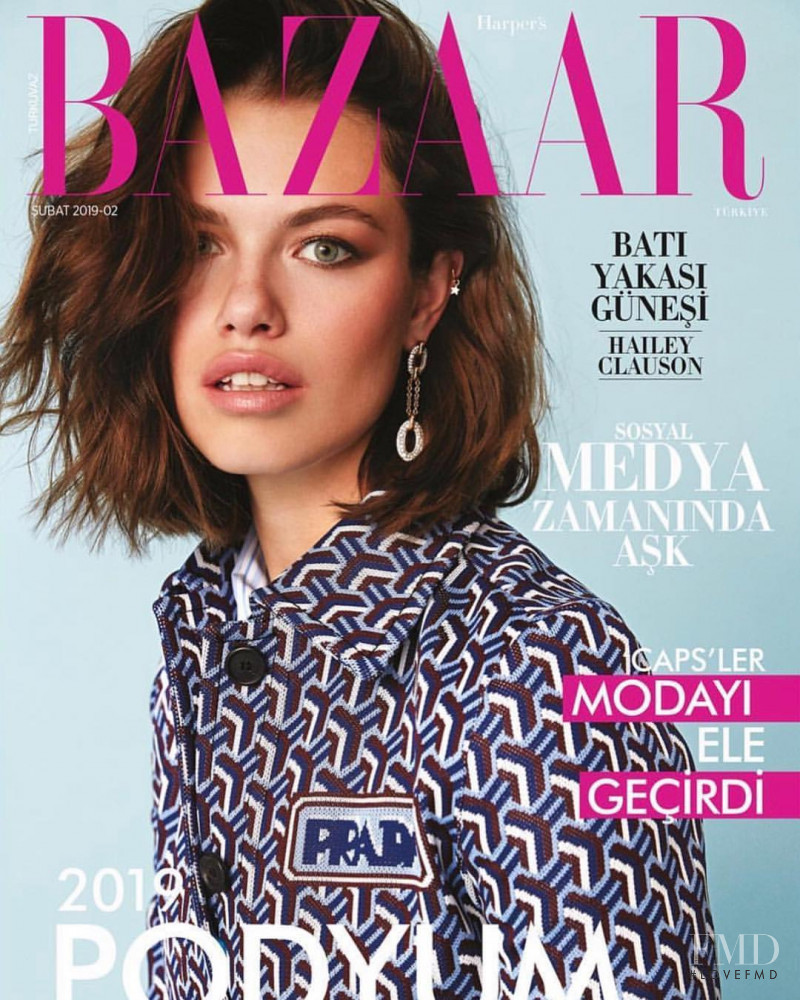Hailey Clauson featured on the Harper\'s Bazaar Turkey cover from February 2019