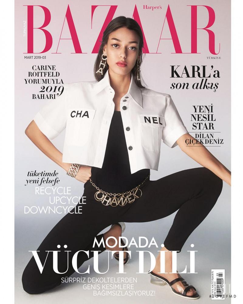 Dilan Cicek Deniz featured on the Harper\'s Bazaar Turkey cover from March 2019