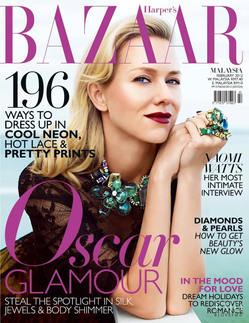 Naomi Watts featured on the Harper\'s Bazaar Malaysia cover from February 2012