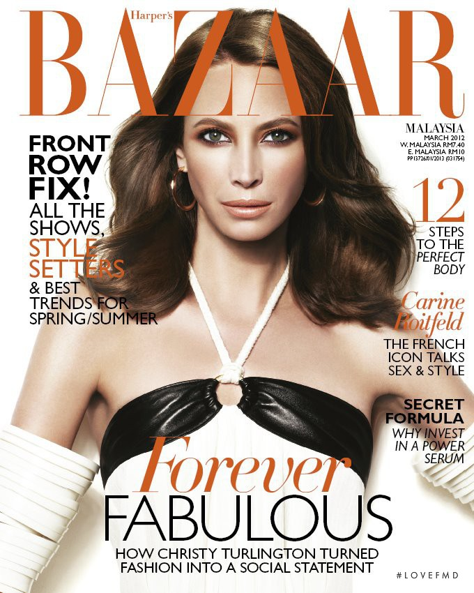 Christy Turlington featured on the Harper\'s Bazaar Malaysia cover from March 2012