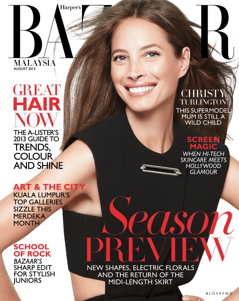 Christy Turlington featured on the Harper\'s Bazaar Malaysia cover from August 2013