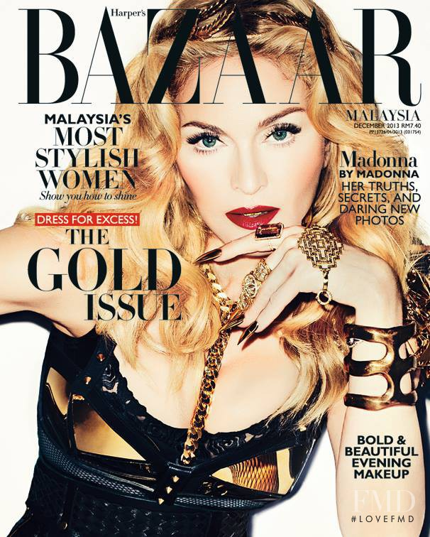 Madonna featured on the Harper\'s Bazaar Malaysia cover from December 2013