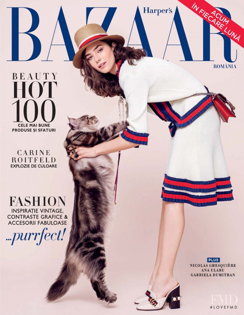 Ada Tache featured on the Harper\'s Bazaar Romania cover from May 2017