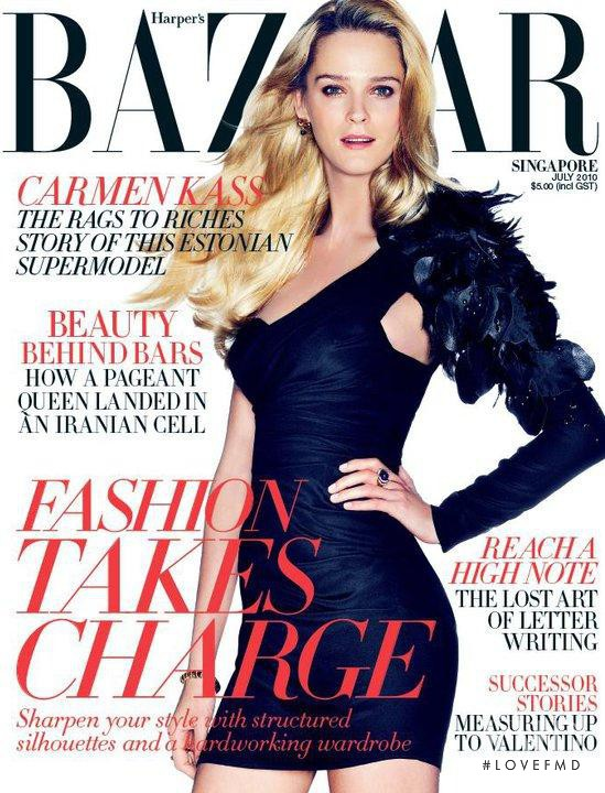 Carmen Kass featured on the Harper\'s Bazaar Singapore cover from July 2010