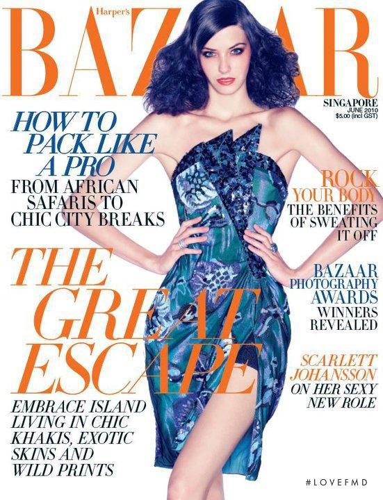 Klaudia Kret featured on the Harper\'s Bazaar Singapore cover from June 2010