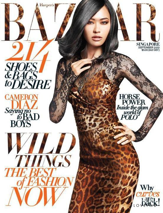 Jin Chen Hong featured on the Harper\'s Bazaar Singapore cover from September 2010