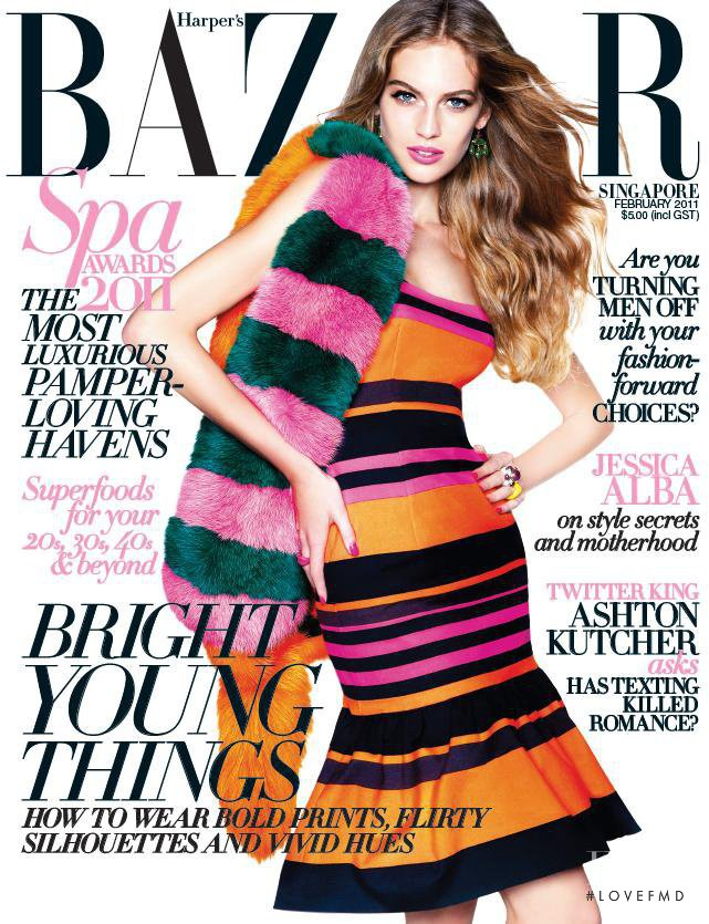 Vanessa Axente featured on the Harper\'s Bazaar Singapore cover from February 2011
