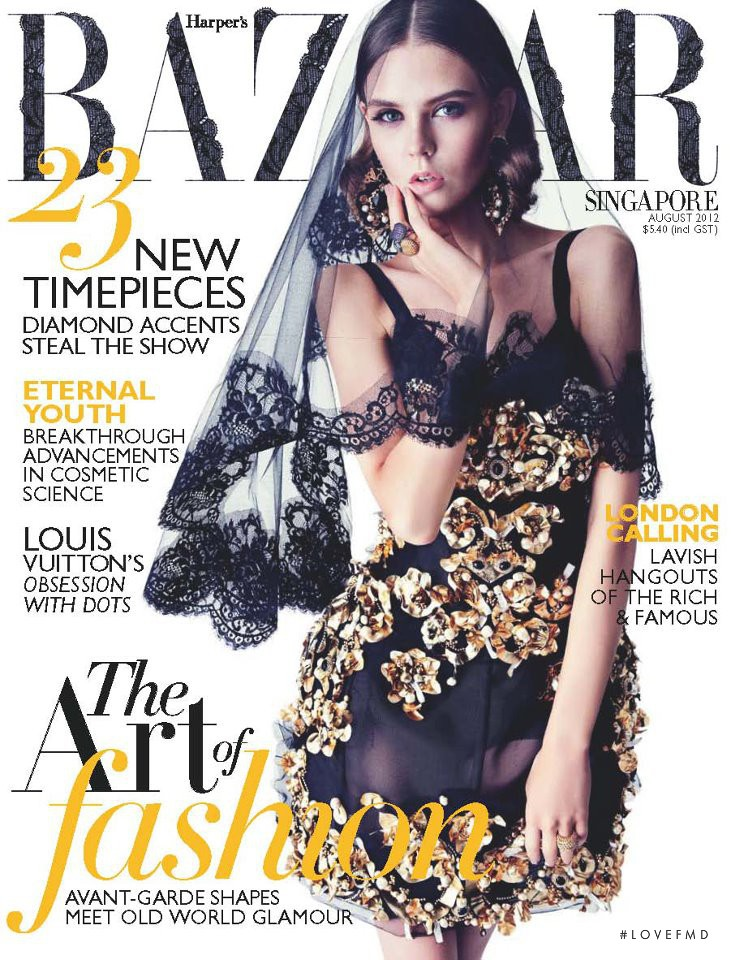 Sasha Baldina featured on the Harper\'s Bazaar Singapore cover from August 2012
