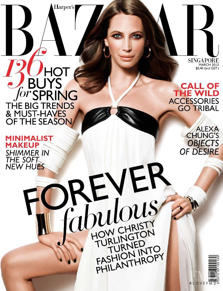 Christy Turlington featured on the Harper\'s Bazaar Singapore cover from March 2012