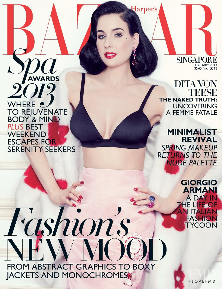 Dita Von Teese featured on the Harper\'s Bazaar Singapore cover from February 2013