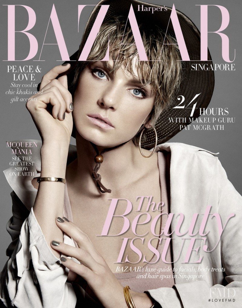 Angela Lindvall featured on the Harper\'s Bazaar Singapore cover from May 2015