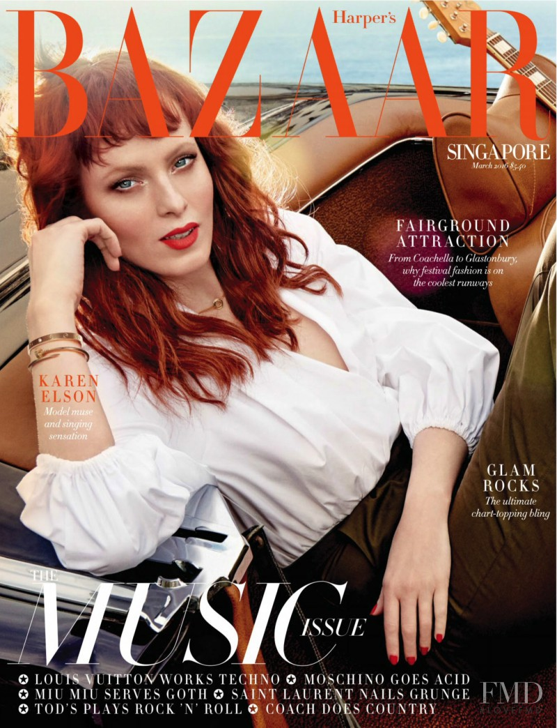 Karen Elson featured on the Harper\'s Bazaar Singapore cover from March 2016