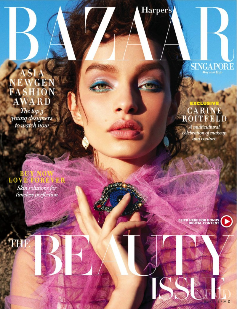 Luma Grothe featured on the Harper\'s Bazaar Singapore cover from May 2016
