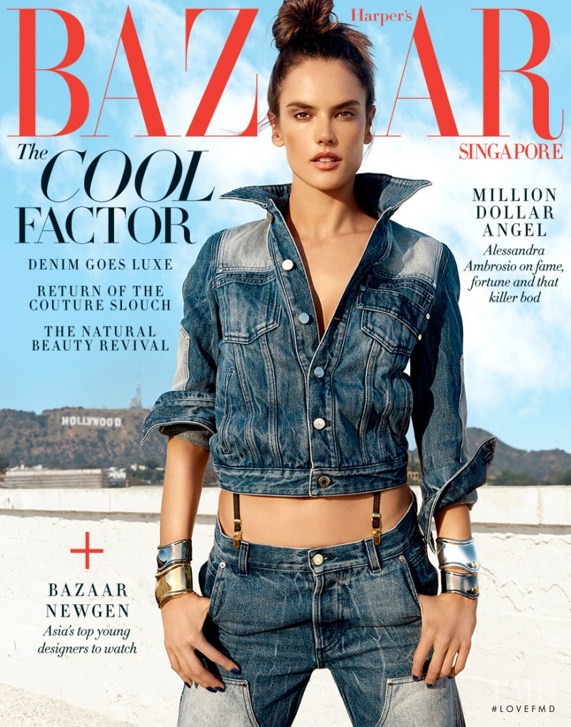 Alessandra Ambrosio featured on the Harper\'s Bazaar Singapore cover from January 2017