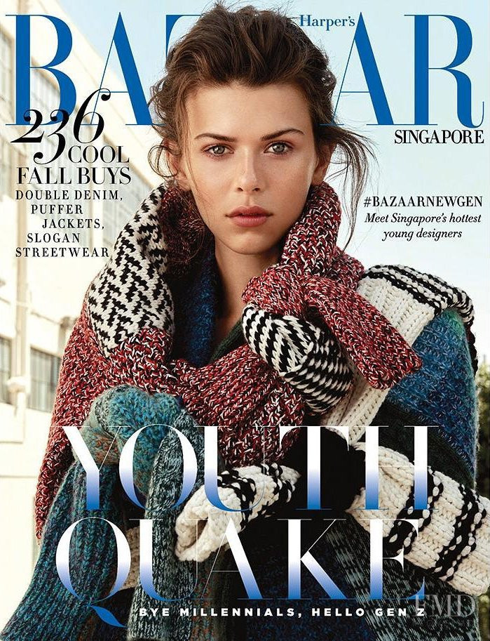 Georgia Fowler featured on the Harper\'s Bazaar Singapore cover from October 2017