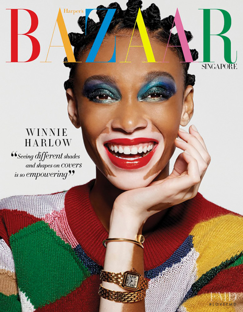 Winnie Chantelle Harlow featured on the Harper\'s Bazaar Singapore cover from February 2018