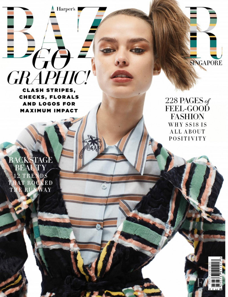 Birgit Kos featured on the Harper\'s Bazaar Singapore cover from March 2018