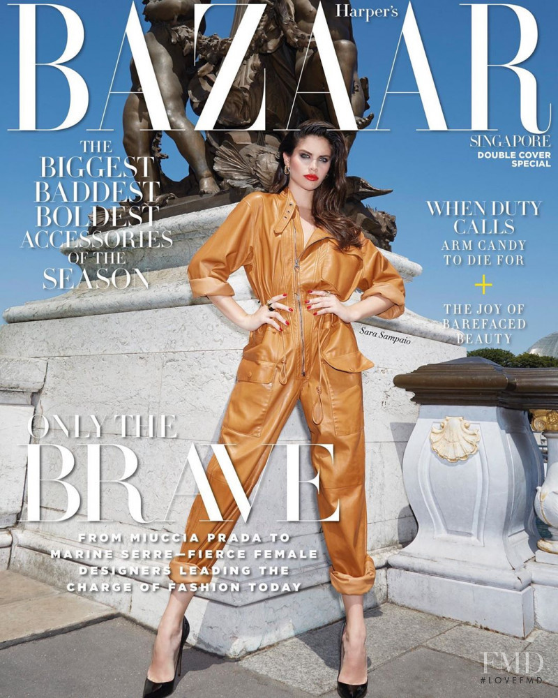 Sara Sampaio featured on the Harper\'s Bazaar Singapore cover from October 2019